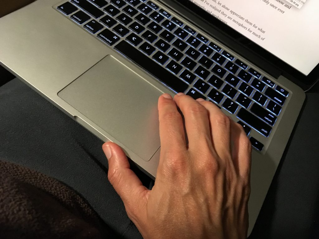 Well-veined hands typing at the computer